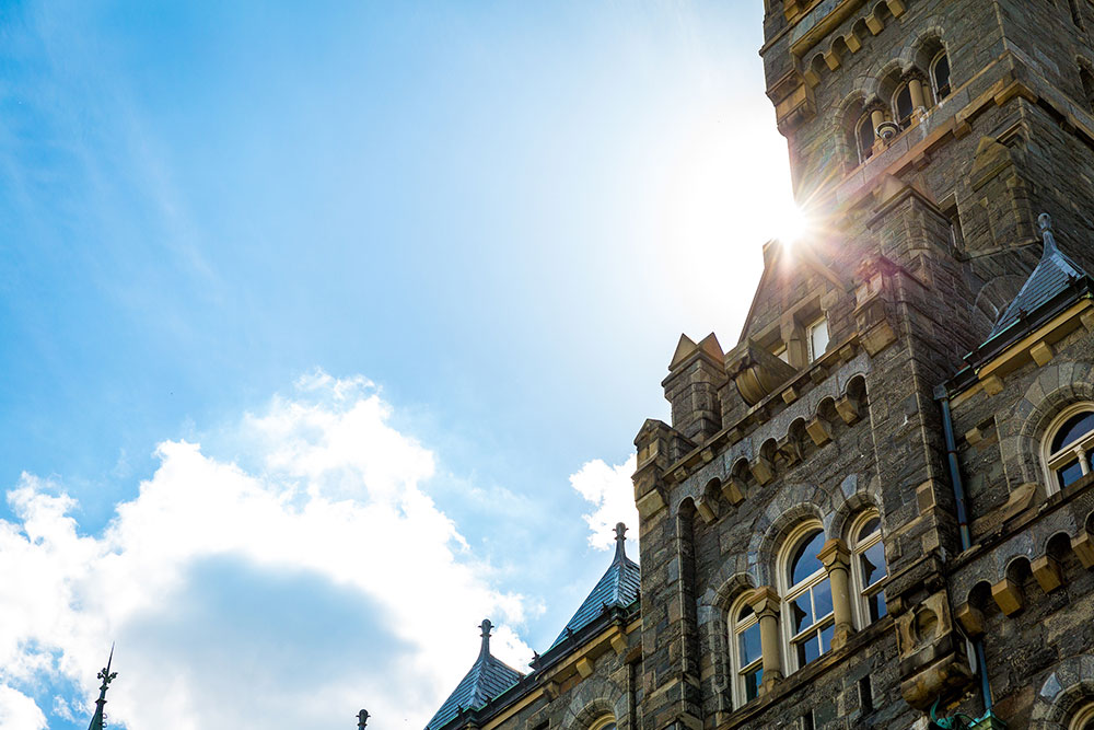 View of Healy Hall in the sunlight