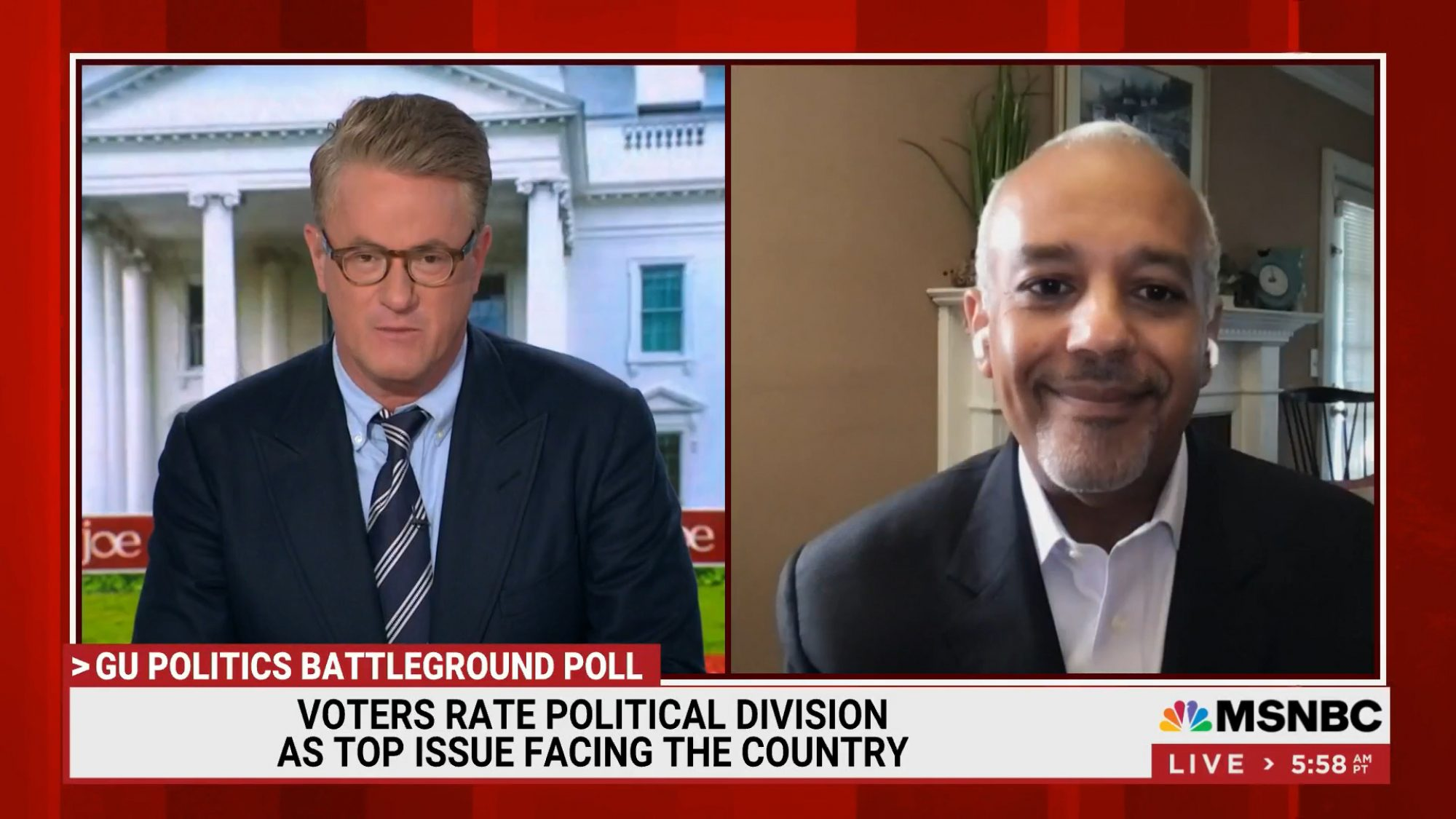 MSNBC Morning Joe: Voters rate political division as the main issue facing the country - Joe Scarborough & Mo Elleithee on screen